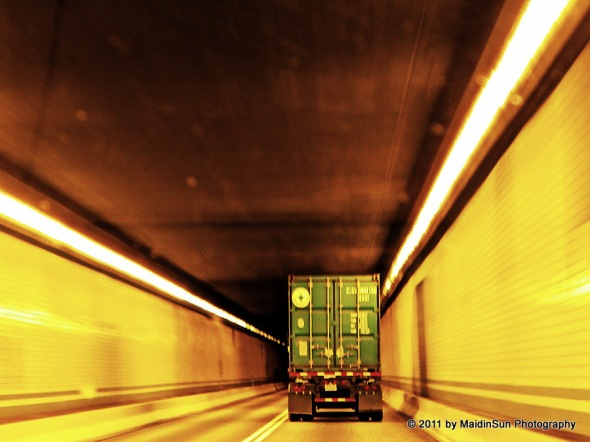 Going through a tunnel on the Pennsylvania Turnpike