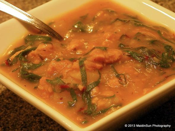 Caldo Verde (a vegan version made with tempeh)