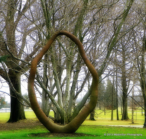 """One of five pieces from the """"Legend of the Iron Hoop"""" installation on campus"""