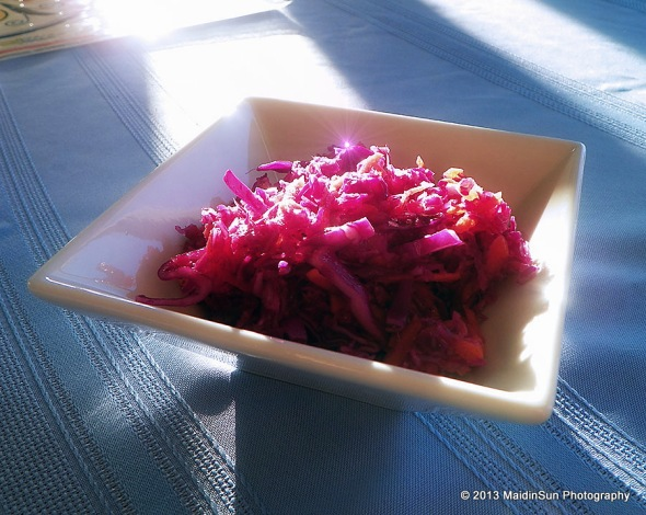 This is not a particularly good shot of Red Cabbage Slaw, but I like the play of light.